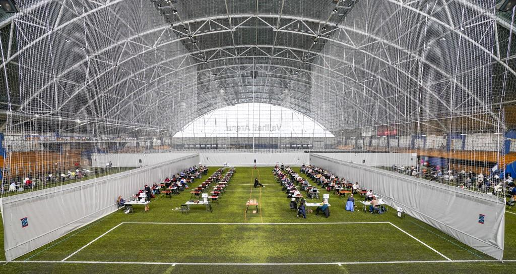 The Vallhall Sports Arena in Oslo, Norway, used as an examination room for students on May 26, 2020. By Lise Aserud / NTB SCANPIX / AFP.
